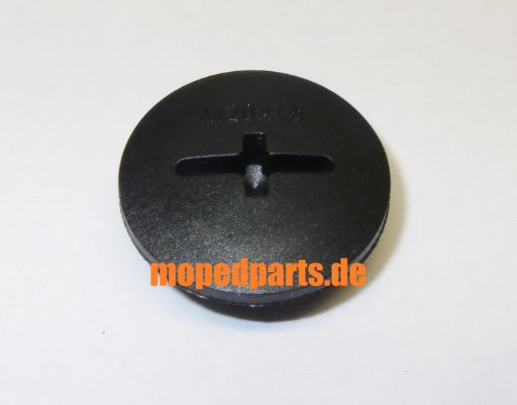 Verschlussschraube Seitendeckel Sachs 50 80, M20 mm Gewinde, Schwarz, Nachbau