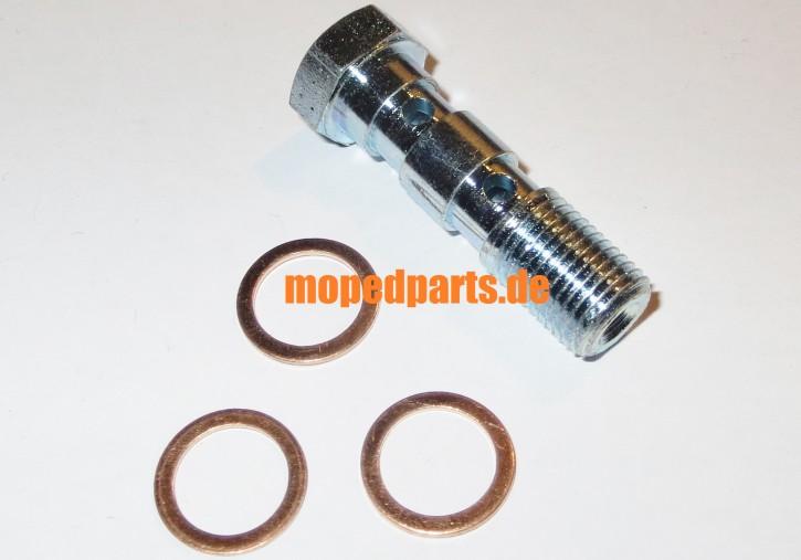 Hohlschraube Magura lang, M10x1, für Anschluss von zwei Bremsleitungen