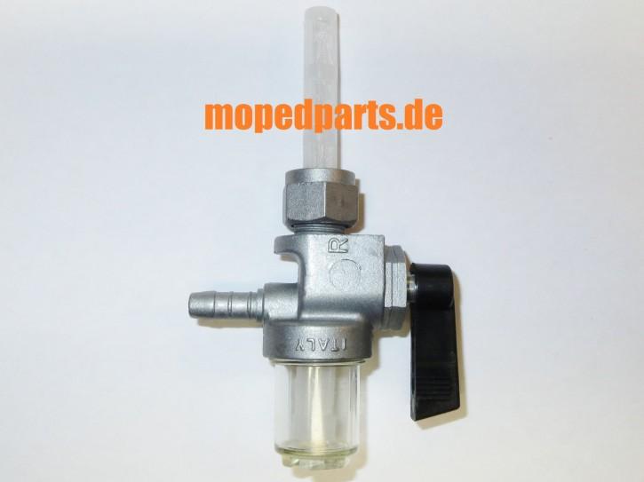 Benzinhahn M12, Metall mit Schauglas und Filter, Abgang hinten