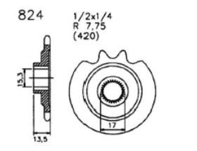 Ritzel, 13 Zähne, Zündapp ZD 10, ZR 10 + 20, Hersteller Esjot