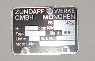 Typenschild Motor, Zündapp 40x30 mm, 60er Jahre