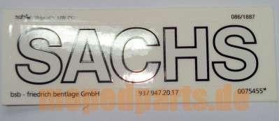 Abziehbild Sachs 130x35 mm, Tank Prima