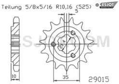 Ritzel pinion 15 Z. Sachs Roadster 650