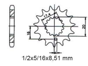 Ritzel pinion 16 Z. Sachs 125 ZX, XTC, XTV, ZZ