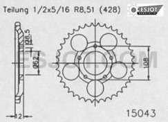 Kettenrad sprocket 58 Z. Sachs 125 XTC 2T, XTV