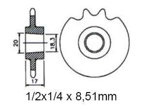 Ritzel pinion 14 Z KTM 50 geschloßsse.Kettenkasten