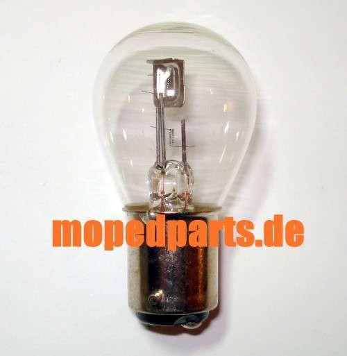 Glühbirne Sockel BAX15d, 6V, 15/15Watt, 15mm