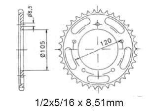 Kettenrad sprocket 60 Z. Sachs ZX 50, ZX 125, ZZ 1