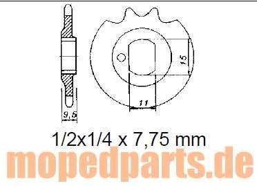 Ritzel 16 Zähne, Kreidler Florett RS, RSH, Kreidler 80, Hersteller Esjot