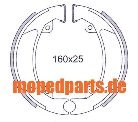 Bremsbacken Kreidler 160x25 mm, Florett 50, 80 E, L, 125