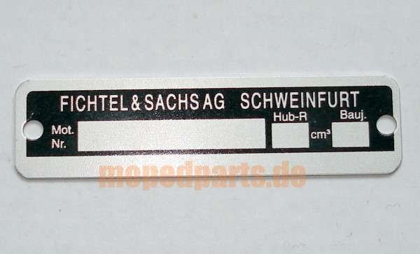 Typenschild Sachs, 58x15 mm, Lochabstand 53 mm