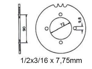 Kettenrad sprocket 42 Z. KTM GP 50 MS, 50 SS